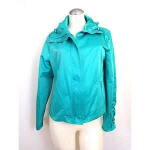 Chico's Size 1 M Green Jacket Ruched Sleeves
